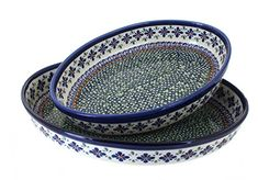 Polish Pottery Mosaic Flower Oval Baker Set ** Be sure to check out this awesome product affiliate link Amazon.com