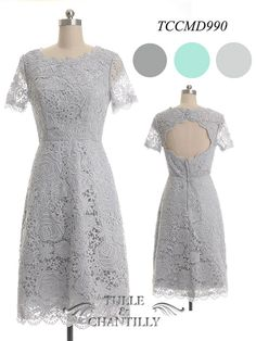 Light Grey Short Lace Bridesmaids Dress with Keyhole TCCMD990