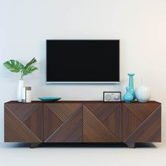 geometric wooden media console by Rosanna Ceravolo West Elm Media Console, Media Console Modern, Modern Tv, Rustic Modern, Midcentury Modern, Modern Living, Modern Media Cabinets, Living Room Tv, Dining Room