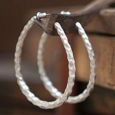 Tutti & Co Seren Faceted Silver Hoop Earrings|lizzielane.co.uk £12.50