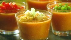HAPPY CINCO DE MAYO RECIPES ... Gazpacho Recipe ~ INGREDIENTS: Canned tomatoes (or vine-ripened) - Green bell pepper  - Red bell pepper  - Onion  - Cucumber  - Salt - Garlic cloves - Red wine vinegar  - Olive oil - Ice water (or tomato juice for thinning soup) GARNISH: Green bell pepper - Cucumber - Croutons - Tomato