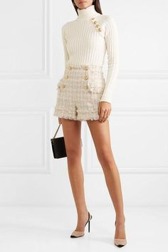 Balmain Button-embellished tweed shorts - Chanel Dresses - Trending Chanel Dress for sales - Balmain Girly Outfits, Short Outfits, Classy Outfits, Stylish Outfits, Fall Outfits, Summer Outfits, Tweed Outfit, Tweed Shorts, Tweed Dress