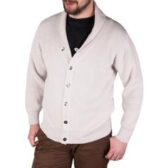 PETER SCOTT 100% Cahmere 3 Ply Knitted V Neck Cardigan 23085: Daydream / White