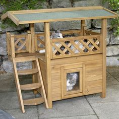 Wooden pet house shelter for cat