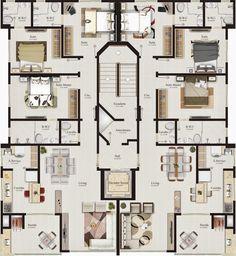 House Plans Mansion, House Floor Plans, Apartment Floor Plans, Screen Design, Suites, Architecture Plan, Studio Apartment, Building Design, Luxury Living