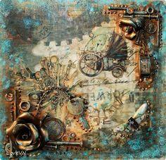 Картина панно рисунок Ассамбляж Панно в стиле стимпанк фото 1 Chat Steampunk, Style Steampunk, Altered Canvas, Altered Art, Mixed Media Collage, Mixed Media Canvas, India Art, Junk Art, Encaustic Art