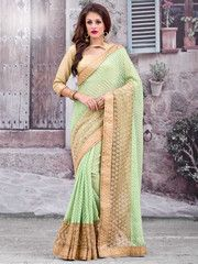 Pastel Green Color Georgette Function & Party Wear Sarees : Anshita Collection YF-37084