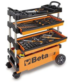 Beta 15 in. Folding Tool Utility Cart for Portable Use, Orange (Tools Not - The Home Depot Garage Tool Storage, Garage Shelving, Garage Shelf, Garage Tools, Garage Workshop, Wire Shelves, Storage Sheds, Garage Atelier, Tool Cart