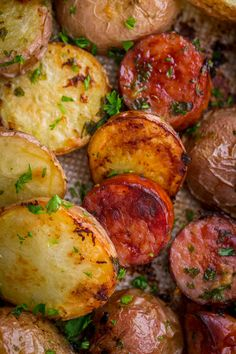 These roasted potatoes are ultra crispy and flavorful with a perfect browning on the coins of kielbasa. Easy, one-pan roasted potatoes and sausage recipe. Roasted Potatoes And Sausage Recipe, Kielbasa And Potatoes, Smoke Sausage And Potatoes, Sausage Recipes, Beef Recipes, Cooking Recipes, Kielbasa Sausage, Family Recipes, Salad Recipes