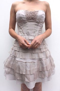 e3470798eb Karen Millen Nude Layered Frill Party Dress Corset Cocktail Prom Mini 10 38  US 6