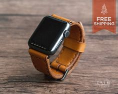 Apple Watch Band Leather Watch Bands in Honey Brown by TRIMleather