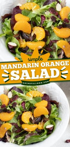 Everything you crave in a summer salad is here! Tossed in a citrus dressing with greens, almonds, and cranberries, this Mandarin Orange Salad recipe is fresh and bursting with flavor. Enjoy it as a side dish! Salad Recipes Gluten Free, Summer Salad Recipes, Salad Recipes For Dinner, Salad Dressing Recipes, Dinner Salads, Easy Salads, Dinner Dishes, Healthy Salad Recipes, Whole Food Recipes