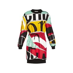 Moschino Sweatshirt Dress (€595) ❤ liked on Polyvore featuring dresses, multicoloured, mixed print dress, multi color dress, round neck dress, longsleeve dress and moschino dress