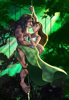 Jane and Tarzan fan art! Tarzan Disney, Disney Pixar, Disney Jane, Walt Disney, Disney Couples, Disney Fan Art, Disney Girls, Disney And Dreamworks, Disney Cartoons