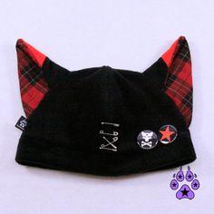 PAWSTAR Red Plaid fox Hat Jrock PUNK kawaii cosplay by pawstar