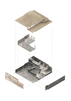 """Architecture BSc, Stage 2. Exploded axonometric. Warrenpoint """"urban-creative"""" centre."""