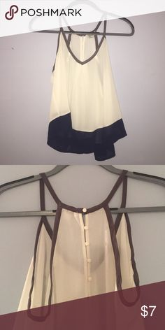 forever21 tank top blouse sheer white with blue bottom and buttons down half the back Forever 21 Tops Blouses