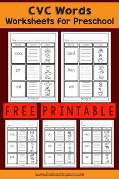 Preschool Names, Preschool Letters, Preschool Worksheets, Handwriting Worksheets, Handwriting Practice, Cvc Word Families, Cvc Words, Writing Skills, Phonics