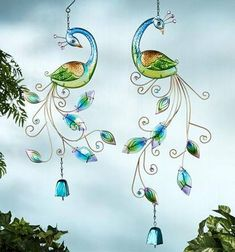 Peacock Hanging Windbell Set $45.99 Www.allthingspeacock.com   Peacock  Garden Decor