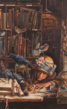 Lori Preusch - QuillMême les oiseaux réunie dans le rêve des livres
