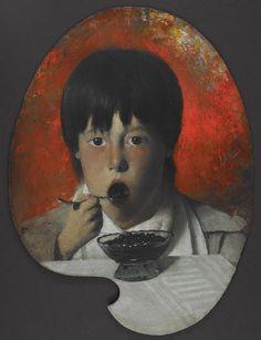 "Joseph Decker, ""Boy Eating Berries,"" (n.d.), oil on board"
