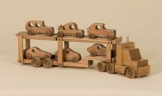 CAR CARRIER WOOD TOY Tractor Trailer Truck with 6 Wooden Cars Amish Hand Made in USA