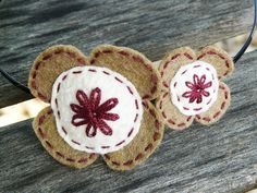 Felt flowers headband Brown white claret wool by myRainbowWorld, $10.00
