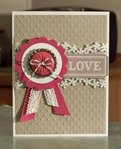 stampin up pretty valentine cards | Handmade Card - Stampin Up Artisian Embellishments Medallion