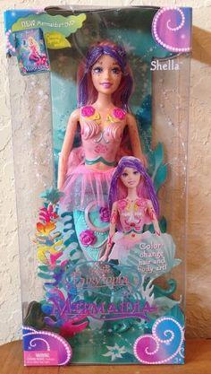 NIB 2005 Barbie Fairytopia Mermaidia - Shella- Color change hair And Body Art