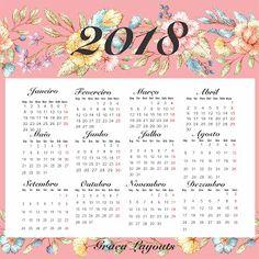 Calendario 2018 Com Flores Para Imprimir So Escola Inspiracoes