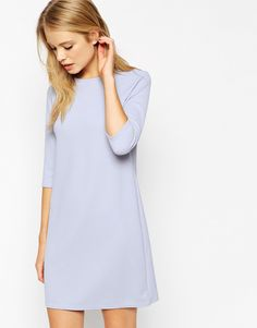 ASOS+Shift+Dress+in+Jumbo+Rib+with+3/4+Sleeves