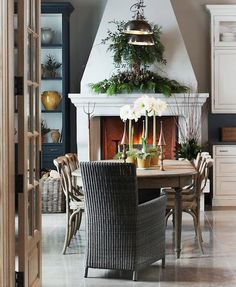 Gorgeous Dining Room with lovely fireplace