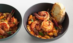 Garlic Shrimp and White Beans Recipe. Chopped spinach added at the end for a couple minutes is good!