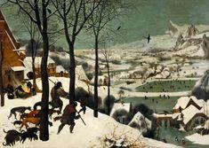 Pieter Bruegel the Elder, Hunters in the Snow, Flemish, Mid 16th Century. Prachtige illustratie van sociale, natuurlijke en klimaatologische omstandigheden in één van de 12 maanden. Focus ligt op wit van sneeuw en zwarte van huizen, mensen en landschap. De levendigheid van het schilderij komt door de details van bijvoorbeeld spelende kinderen.
