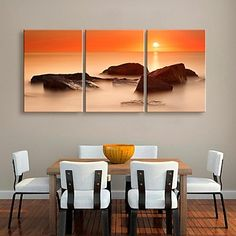 εξατομικευμένη καμβά εκτυπώσετε το ηλιοβασίλεμα και τη θάλασσα του rockst 35x50cm 40x60cm 50x70cm πλαισιωμένο καμβά σετ ζωγραφικής του 3 – EUR € 37.99