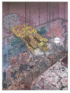 Stewart's precise palette brings every micrometer of Darrow's renowned linework to obscene life, highlighting the sinful depths and violent heights of Hard Boiled's grimy future world. Geof Darrow, Art Haus, Graffiti, Bd Comics, Cyberpunk Art, Science Fiction Art, Comic Book Artists, Fantastic Art, Gotham City