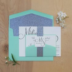 Glitter Wedding Invitation Silver and Mint by JenSimpsonDesign