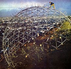 Geodesic Domes were developed by Buckminster Fuller in the mid-1950s to early-1960s. The most well known Geodesic dome in America is Epcot at Disney World.