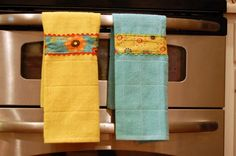 Embellish pre-made towels-beginner sewing project