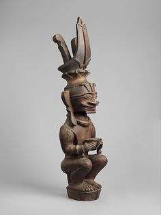 Ancestor Figure (Siraha Salawa or Siraha Nomo)    Date:      19th–early 20th century  Geography:      Indonesia, Nias Island  Culture:      Ono Niha people  Medium:      Wood  Dimensions:      H. 25 x W. 6 1/4 x D. 6 in. (63.5 x 15.9 x 15.2 cm)  Classification:      Wood-Sculpture