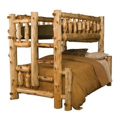 Fireside Lodge Traditional Cedar Log Bunk Bed Configuration: Full over Full, Ladder Side: Right, Finish: Traditional