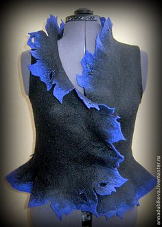 blue and black nuno felted vest