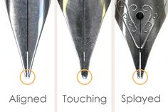 """Guide to Fountain Pen Nibs: Troubleshooting Tips and Tricks Learn to recognize when your nibs need a """"tune-up!"""""""