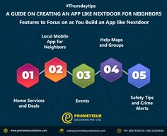 A GUIDE ON CREATING AN APP LIKE NEXTDOOR FOR NEIGHBORS Features to Focus on as You Build an App like Nextdoor. To read full Blog click the link below . #iosapp #iosapps #ios #androidapp #mobileapp #app #prometteursolutions #android #mobileappdevelopment #iosdeveloper #apps #appdevelopment #iosapps #developer #instagram #mobileapps #mobileappdesign #technology #appdesign #marketing #ux #ui #uidesign #iphone #iosappdeveloper #bhfyp #Software #Healthcare #Educational #Ecommerce #IOT Ios Developer, Build An App, Mobile App Design, Safety Tips, To Focus, Ios App, App Development, Ui Design, Android Apps