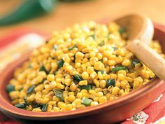 Learn how to make Skillet Poblano Corn. MyRecipes has tested recipes and videos to help you be a better cook. Frozen Corn Recipes, Corn Pudding Recipes, Corn Soup Recipes, Chowder Recipes, Vegetable Recipes, Vegetarian Cooking, Fun Cooking, Cooking Recipes, Chicken Corn Chowder
