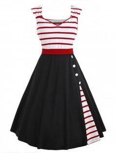 Vintage Dresses, Cheap Vintage Clothing and Retro Dresses for Women Casual Online Vintage Dresses Online, Vintage Outfits, 1950s Fashion, Vintage Fashion, Pin Up, Ball Gown Dresses, Latest Dress, Retro Dress, Striped Dress