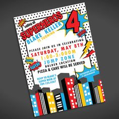 super hero birthday invitation - boy birthday party