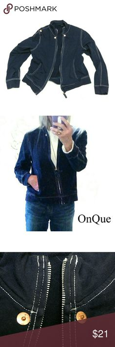 "ONQUE CASUAL NAVY BLUE LIGHT WEIGHT JACKET ONQUE NAVY BLUE LIGHT WEIGHT JACKET Pre-Loved  /EUC  RN# 98294 SZ M 100% Cotton Navy Blue 100% Cotton, White Saddle Stitching, Side Pockets, Brass Accents Approx Meas;    *   Armpit to Armpit 17 1/2""    *   Back Neck to Hem L.   23""    *   Sleeve Length   18"" Pls See All Photos. Ask ? If Not Sure ONQUE Jackets & Coats"
