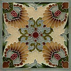 Gloss Ceramic Tile - Vintage Art Nouveau Reproduction Tile (Minton) - Various Sizes.