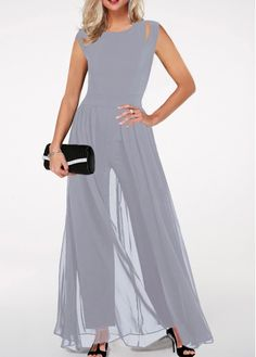 Round Neck High Waist Light Grey Jumpsuit – outfit of the day. Blue Jumpsuits, Jumpsuits For Women, Elegante Jumpsuits, Jumpsuit Outfit, Black Jumpsuit, Cream Jumpsuit, Jumpsuit With Sleeves, Fashion Dresses, Chiffon